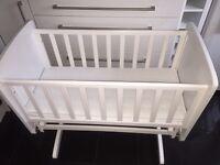Kiddicare gliding white wooden crib and mattress