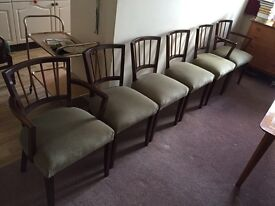 Six retro antique style dining chairs