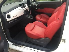 Fiat 500 lounge fully loaded pearl white red leather seats