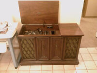 Radio/record player in cabinet