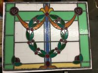 Vintage stained glass and leaded window.