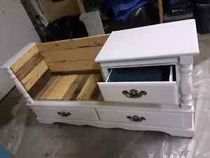 Refurbished dresser into bench.