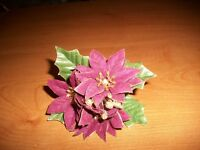 Poinsettia Napkin Ring Burgundy/Gold Edge Christmas Table Decor