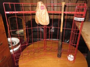 a VINTAGE BASEBALL BAT AND BALL HOLDER, BAT AND GLOVE NOT INCLUD