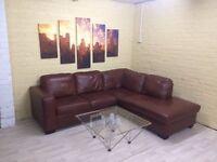 Comfy Cosy Brown Leather Corner Sofa