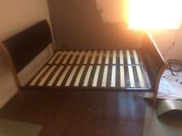 King size bed frame - brown leather head and foot board, wooden slats and metal frame