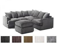 DUAL ARM LIVERPOOL CORDED FABRIC CORNER SOFA IN 6 COLOURS **SAME DAY / NEXT DAY DELIVERY****