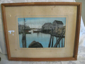 1940's Peggy's Cove Watercolor Pastel Painting Fanny Ernst