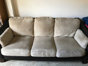 Suede beige couch in excellent condition