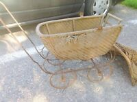 Antique Toy Doll Stroller, Wood and Steel