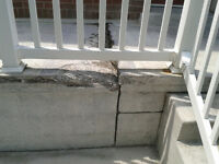 Porch/ brick/parging repair by retired mason and Sons.