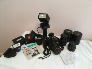 Pentax 645 Medium Format SLR Camera /w Lenses, Flash + Extras