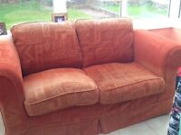 3 seater and 2 seater fabric sofas- terracotta colour