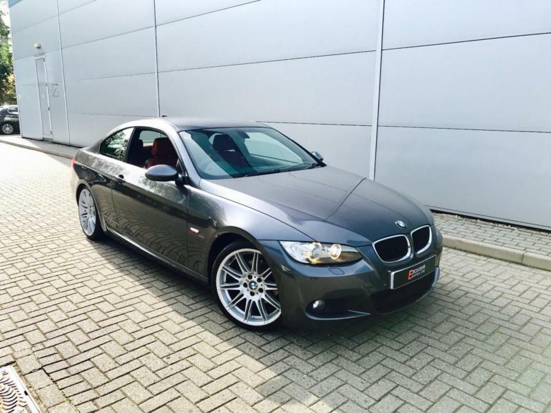 2008 08 reg BMW 320d M Sport Coupe + GREY + RED LEATHER