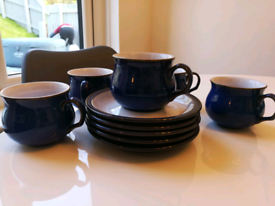 Denby imperial blue 5 tea cups and saucers