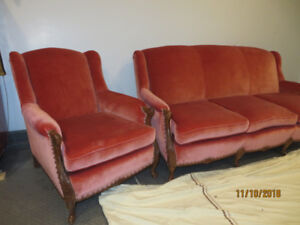Antique Chesterfield and Chair