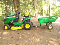 John Deere Lawnmower/tractor and trailer for sale
