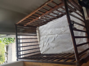 Antique wooden 4 way crib: 2 level, change table, side sleeper