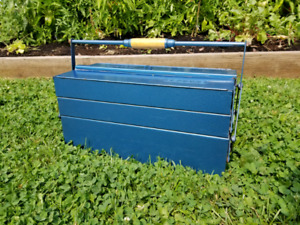 Antique Wooden Handled Gedore Cantilever tool box/ tackle box