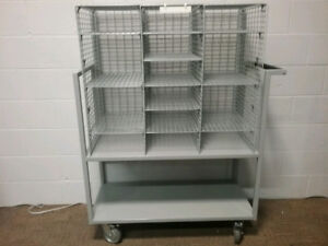 Mailroom Mobile 3 Compartment wire sorting unit cart dolly