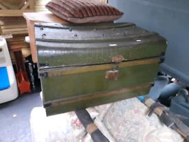 Old vintage metal trunk