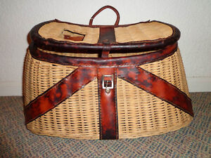 Vintage woven wicker and leather fishing creel/basket