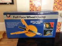 Wheel clamp for cars, caravans and trailers
