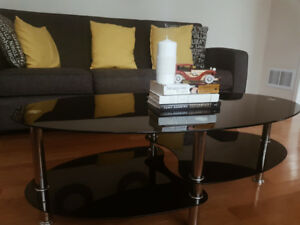 Black Glass 3-tier Coffee Table