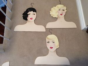 Rare Vintage Hand Painted Wooden Clothes Hangers - Glamour Girls