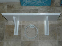 White shelf and towel ring