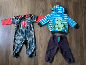 Boys toddler 12-18 mth Pants overalls and 2 outfits
