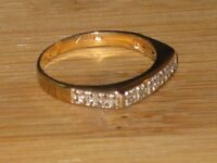 14k gold ring with 12 diamonds, size 7