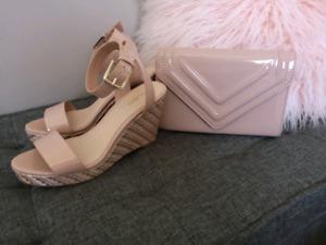 Cute Wedge Sandals + Clutch