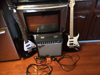Two electric guitars ,Amp ( 25R) ,Distortion pedal ,cords