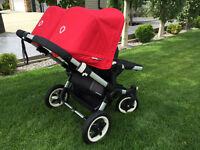 Bugaboo Donkey Duo - Black Chassis with Red Canopies