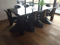 8 seater black glass dining table and chairs
