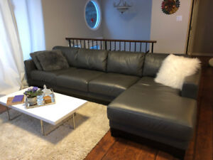New Leather sectional with chaise