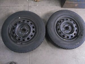 """Pair of 14"""" Steel Rims and Tires"""