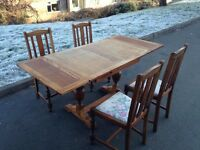 Solid oak table & chairs