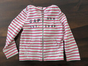 Gap Girls White and Red Striped Hoodie – Size 4 - $5.00