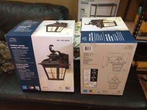 TWO matching carriage style outdoor lights with photocell