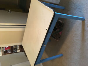 Metal top table with drawer