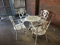 Vintage Metal Garden Set Table And 4 Chair