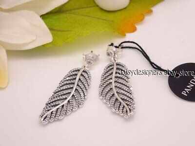 NEW Authentic Pandora Silver LIGHT AS A FEATHER Shimmering Earrings 290584CZ