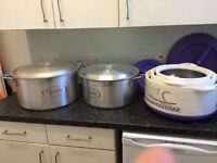 Large CATERING SAUCEPANS AND LARGE FOOD CONTAINERS/KITCHEN WARE £120 ONO
