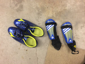 Soccer shoes and shin pads