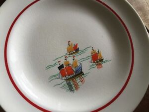 32 piece set vintage 1940's nautical boats China -dishes