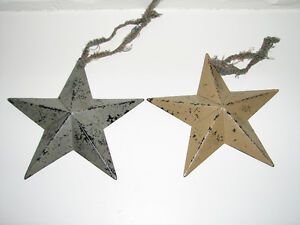 Primitive Farmhouse Country Christmas Metal Star Ornaments, 2 Kitchener / Waterloo Kitchener Area image 1