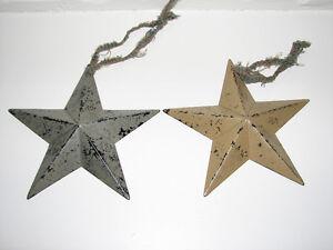 Primitive Farmhouse Country Christmas Metal Star Ornaments, 2