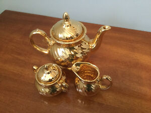 Royal Winton Gold Plated China Tea Pot, Creamer, Sugar Bowl